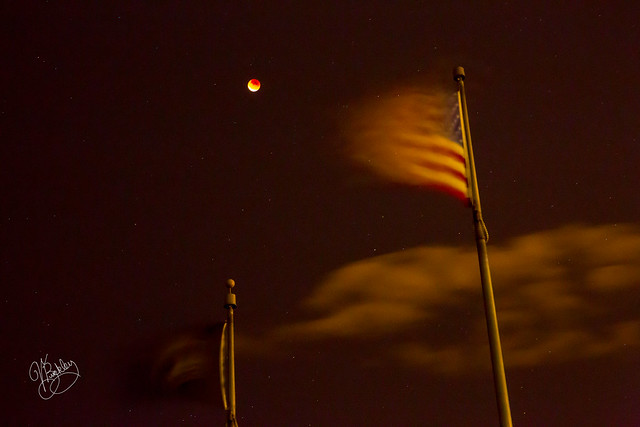 Super Blood Moon Over Flag