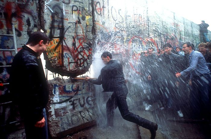 Dismantling of the Berlin Wall in 1989