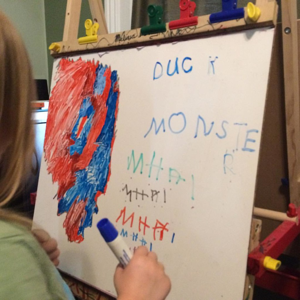 "Practicing letters! (Not sure why she wanted to write ""duck monster"", but it's awesome!)"