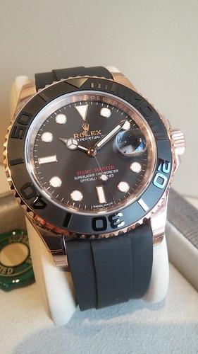 "Rolex ""Yacht-Master"" 40mm 18 karat pink gold, black ceramic bezel and ""Oysterflex"" strap.  $24,950.00"
