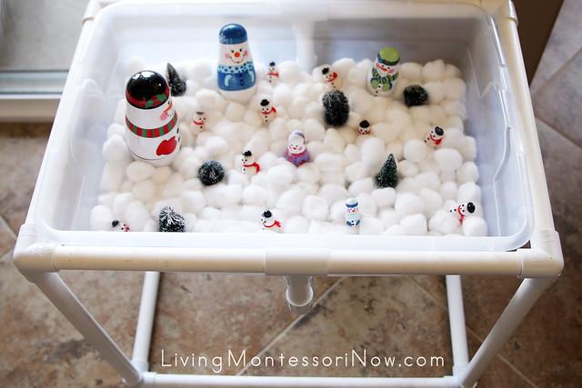 Snowman Sensory Table