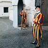 One of the most photogenic guards ever. The Swiss guard the Pope.  #vatican #vaticano #rome #roma #Italy #Italia #instaitaly #instarome #romanholiday #ig_rome #ig_italia #ig_italy #ig_roma #swiss #swissguard #military #soldiers #uniform #instagood #picoft
