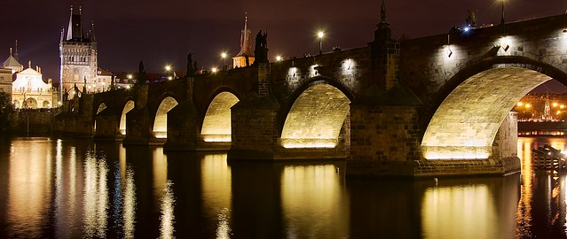 Prague Charles bridge at night