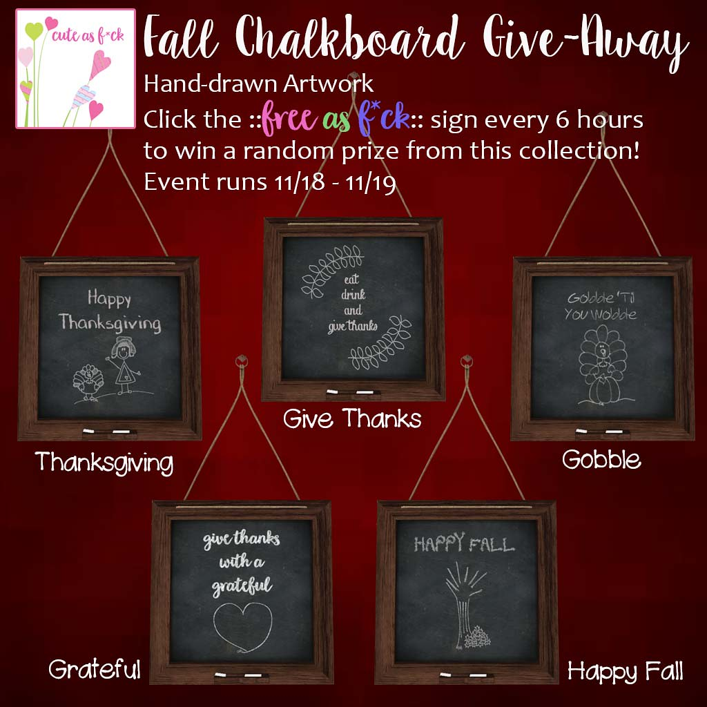 FREE Fall Chalkboard Set Give Away! - SecondLifeHub.com
