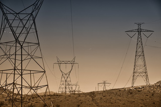 Man-Made Power Flowing Through Transmission Lines