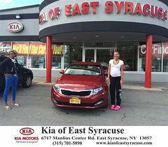 Congratulations Quaneasha on your #Kia #Optima from Eduardo Castillo at Kia of East Syracuse! #NewCar