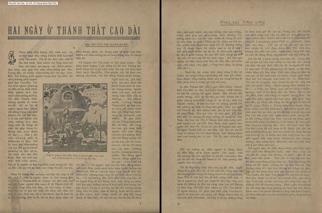 Phụ Nữ Tân Văn, Số 176 - 10 Tháng Mười Một 1932 (2) - HAI NGÀY Ở THÁNH THẤT CAO ĐÀI