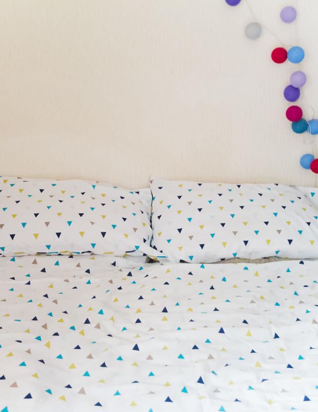 triangle pattern bed set - bedroom makeover