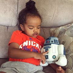 Xavi's first Star Wars toy: A plush talking R2-D2. #forcefriday