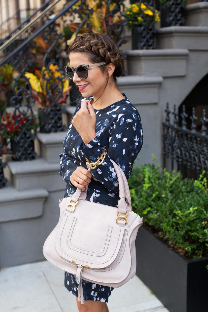 anthropologie sunglasses club monaco printed dress chloe marcie bag white heels dvf lipstick what to wear fashion blogger corporate catwalk