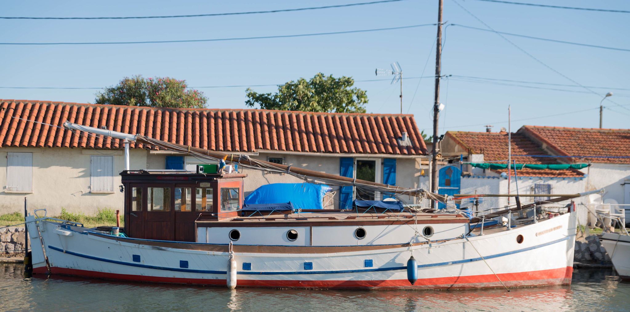 Old French fishing boat on the Sette Canal