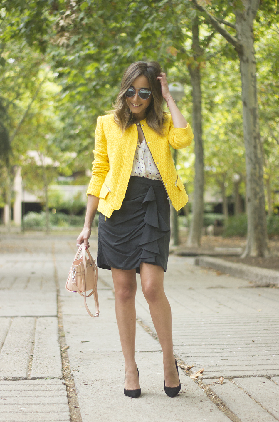 Yellow Jacket Draped Grey Skirt Outfit03
