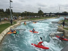 water park(0.0), canoeing(0.0), vehicle(1.0), sports(1.0), kayak(1.0), boating(1.0), canoe slalom(1.0), extreme sport(1.0), kayaking(1.0), boat(1.0), paddle(1.0),