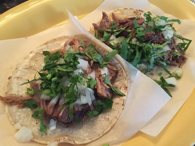 Carnitas and barbacoa tacos - Tropisueno