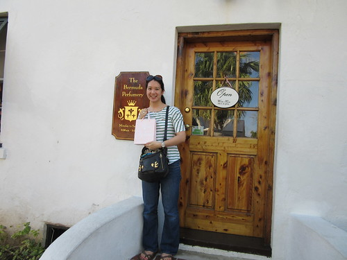 Mei outside The Bermuda Perfumery.
