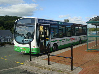 Wright Pulsar bus in TrawsCymru T5 livery at Haverfordwest railway station