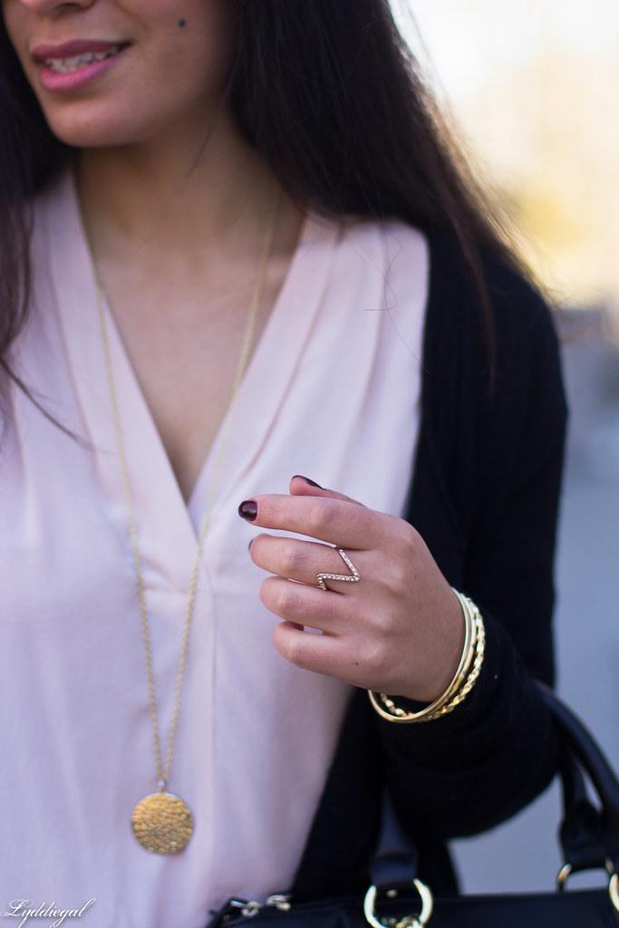 pink silk blouse, jeans, black cardigan, booties-7.jpg