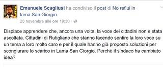 """Rutigliano-""""Su Lama San Giorgio dovete reagire""""-Anche il parlamentare polignanese Scagliusi ha parlato della vicenda con un post facebook jpg"""