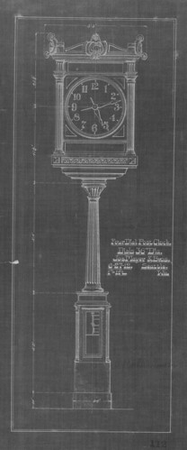 Large 4-dial clock blueprint, Joseph Mayer, 1912