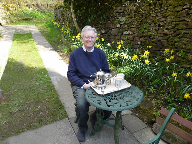 Tony Edge enjoying a nice cup of tea