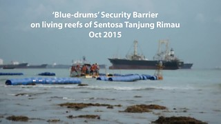 'Blue drums' security barrier on Sentosa's natural shores