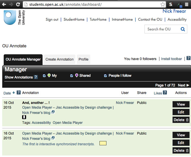 OU Annotate – annotation manager - screen shot 2