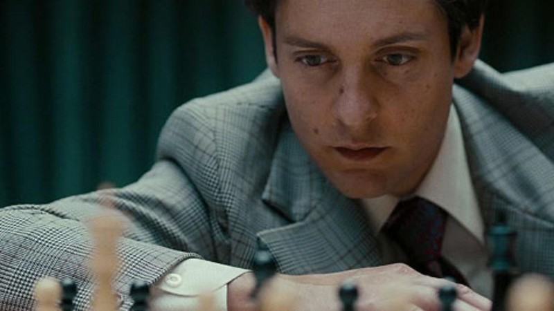Tobey Maguire plays the nutso chess genius Bobby Fischer in PAWN SACRIFICE.