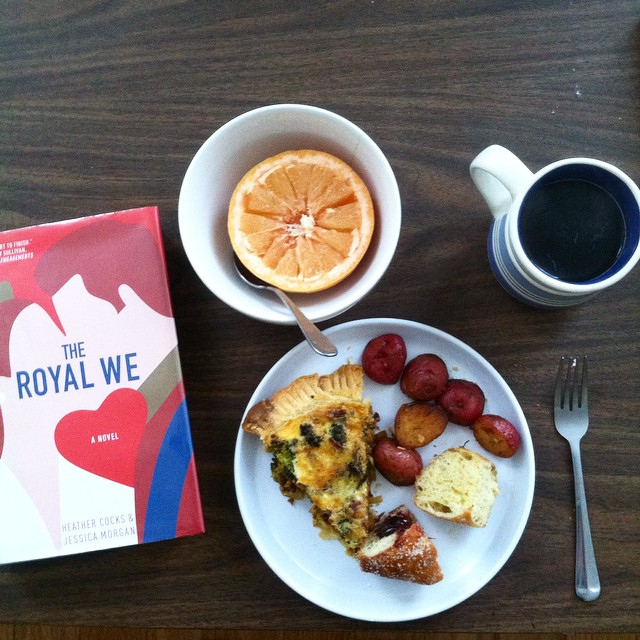 Saturday brunch---> Quiche, red potatoes, 🍩, grapefruit, tea, & The Royal We. Needed something light after Luckiest Girl Alive!