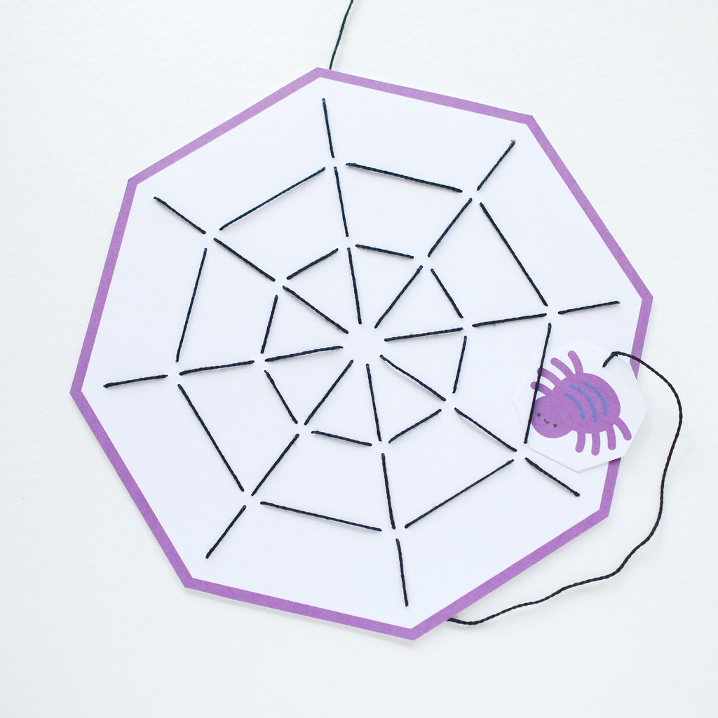 Printable Octagon Spiderweb Stitching Card