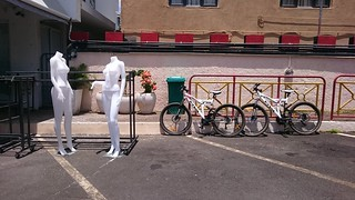 Mannequins with bicycles