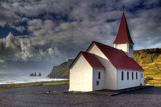 Vik Church with Reynisdrangar