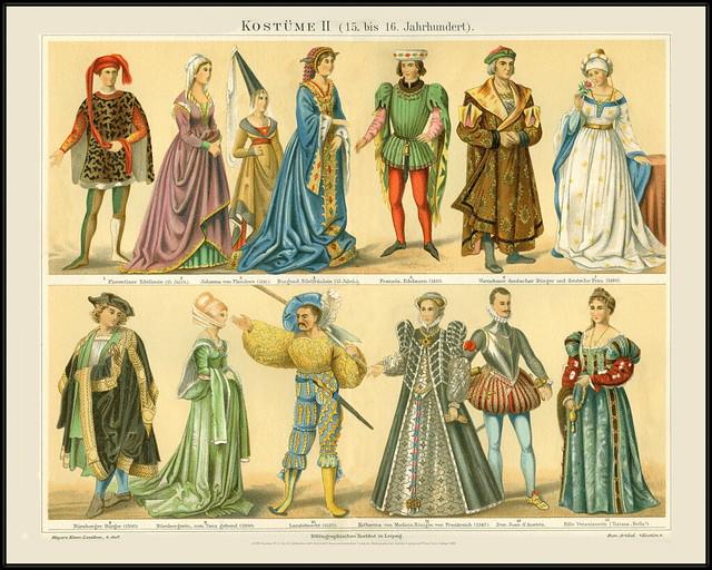 s0120b Kostüme II 15. bis 16. Jahrhundert 4491 MeyA4B10 Konversationslexikon Verlag des Bibliographischen Instituts Leipzig und Wien Vierte Auflage 1888.