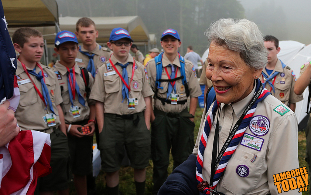 Granddaughter of Lord Baden-Powell Joins Scouts for Breakfast
