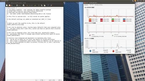 Swap_SS_(2015_12_07)_1 Ubuntu環境のデスクトップ画面のスクリーンショット。システム モニターが起動している。CPUとメイン メモリーとスワップの使用率が表示されている。