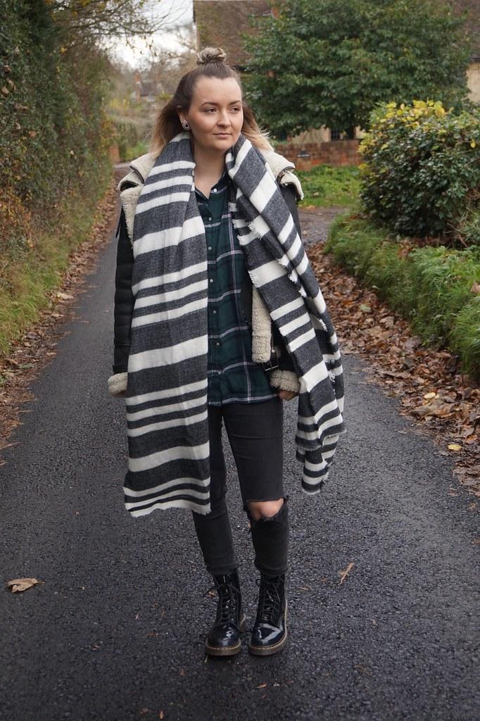 fashion,style,katelouiseblog,zara,zara scarf,topknot, Aviator Jacket, Sheepskin Jacket, dr martens, doc martens, street style,fashion blogger,blanket scarf,