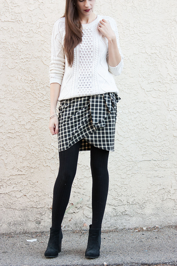 Ruffle Plaid Skirt, Black TIghts, Winter Outfit