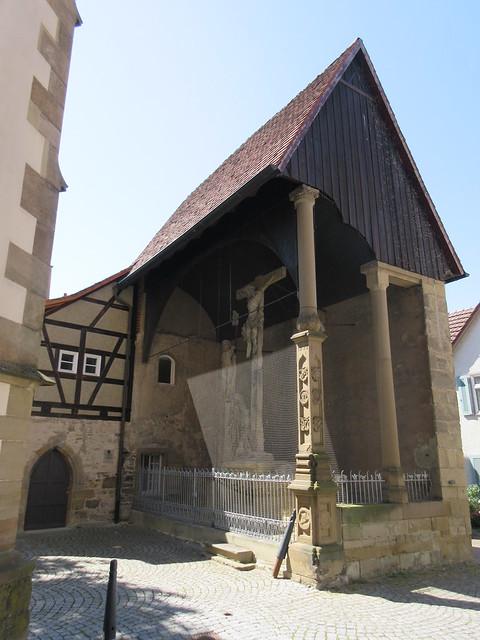 Crucifix scene opposite Stadtkirche, Bad Wimpfen, Germany