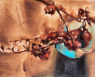 Bronze quince still life oil painting on linen 16x20