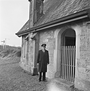 Station Master Nolan standing in front of Lord Maude's private waiting room, Dundrum, Co. Tipperary.