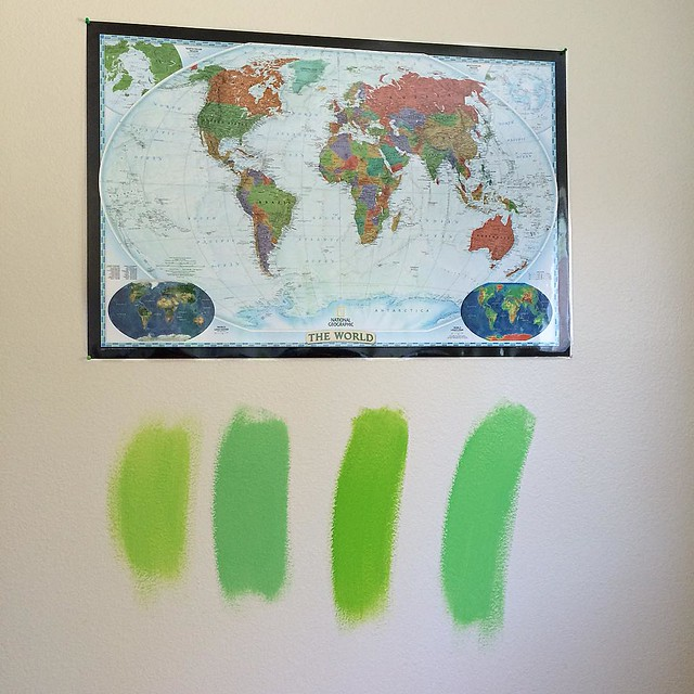 4 possible green paints for the office walls. Which one do you like best? 💚💚💚💚