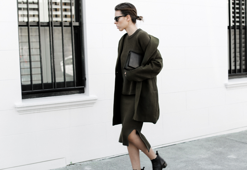 modern legacy, fashion blog, street style, khaki, transseasonal, Bassike, ribbed knit skirt, layers, ASOS coat, Anine Bing clutch bag (1 of 1)