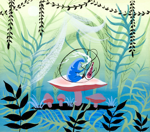 Alice in Wonderland Caterpillar concept art by Mary Blair