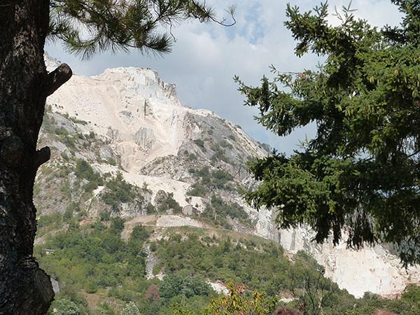carrieres de marbre derrière les arbres