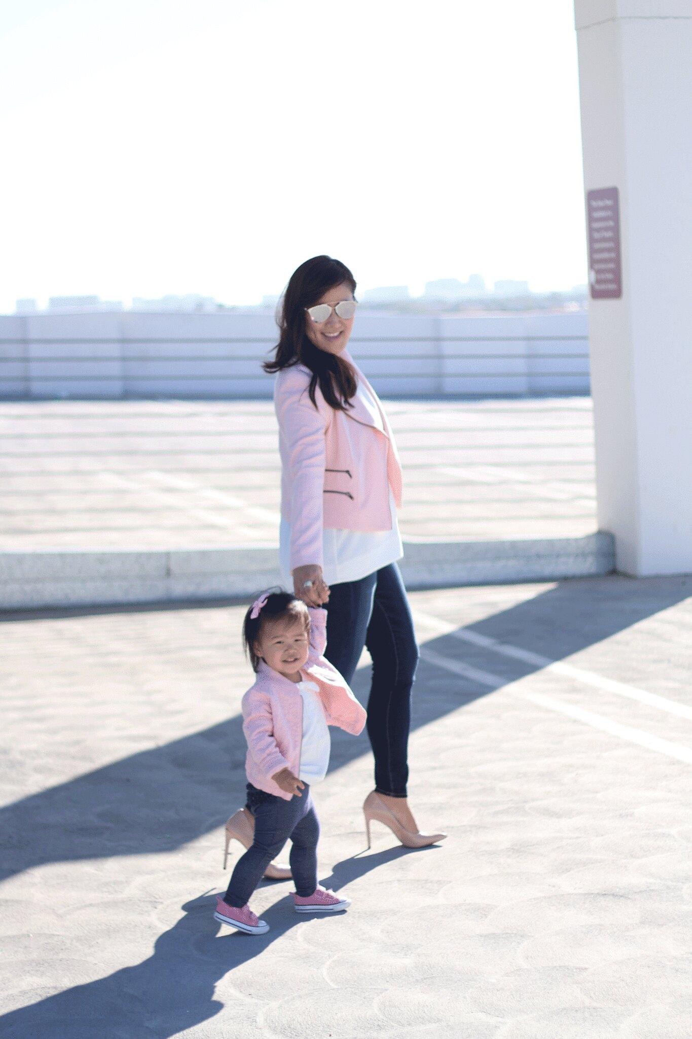 simplyxclassic, banana republic moto jacket, pink jacket, mommy and me style, mommy blogger, mom blog, gap kids pink bomber, twinsies, fashion blogger, orange county