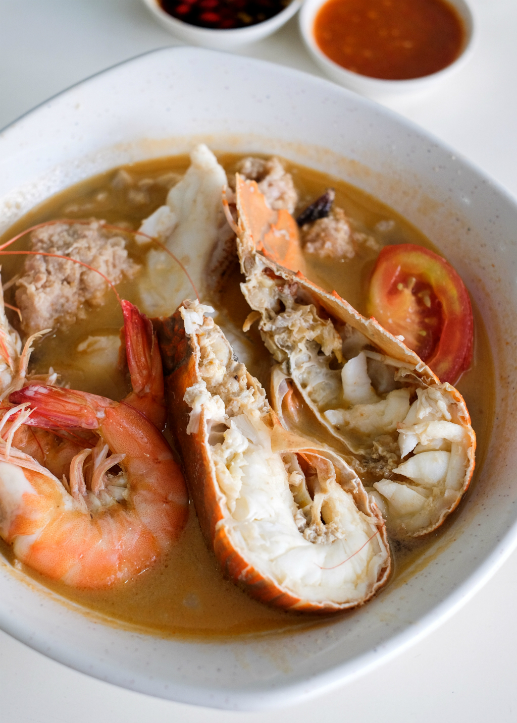 A.S.Seafood: crayfish,fish slices and prawns Soup