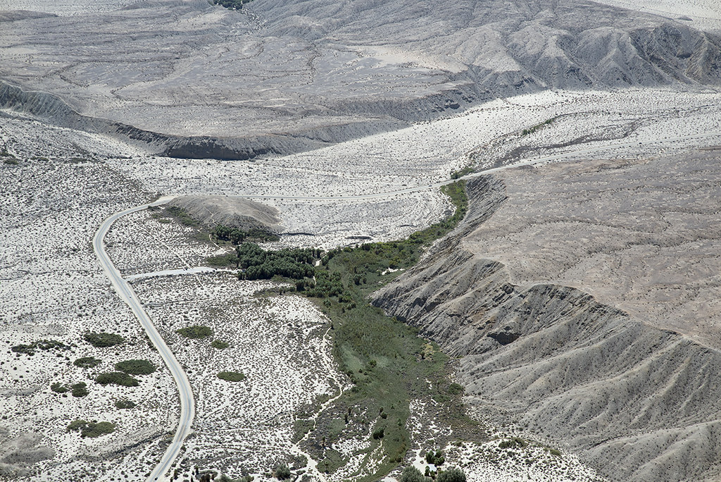 Aerial view of Thousand Palms Oasis and the Mission Creek Strand of the San Andreas Fault, Indio Hills, California