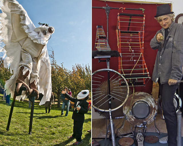 Mortal Beasts & Deities (left); photo by Mike Ratliff. Terry Dame's Science Music Road Show (right); photo by Terry Dame.