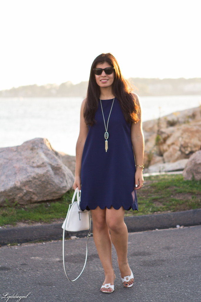 navy scalloped dress, white bag and sandals-1.jpg