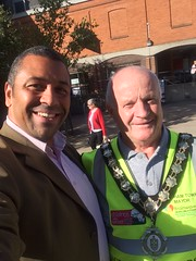 With Cllr Bill Rose, Mayor of Witham, at the start of his charity walk.