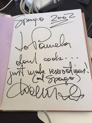 Wolfgang Puck's inscription to me in 2002 at Spago